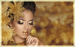 Fashion Beauty Girl portrait with flowers Isolated on golden bok